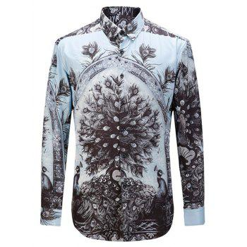 Turn-down Collar Long Sleeve 3D Peacock Print Shirt