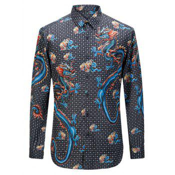Turn-down Collar Long Sleeve Geometric Totem Printed Shirt