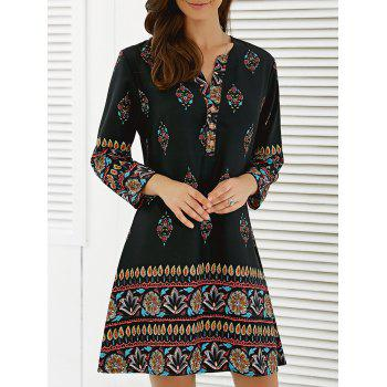 Floral African Casual Long Sleeve A Line Short Dress