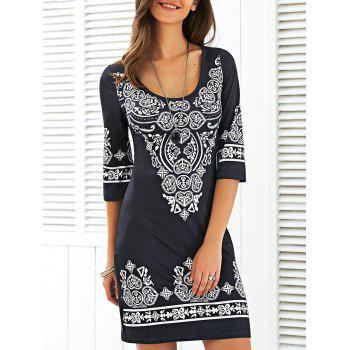 Scoop Neck Mini Sheath Printed Dress