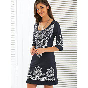 Scoop Neck Mini Sheath Printed Dress - BLACK L