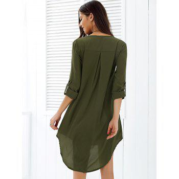 Asymmetrical V Neck Casual Knee Length Going Out Dress - ARMY GREEN XL