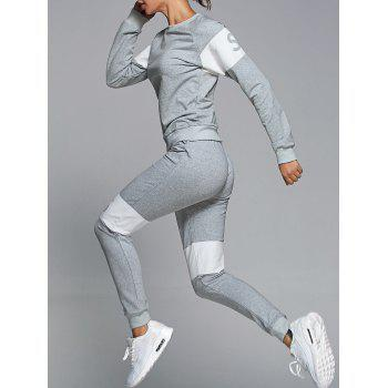 Letter Pattern Sweatshirt With Pants Gym Outfits