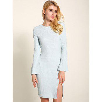 Manches cloche Lace Up Fit Slit Sweater Dress - Bleu clair M