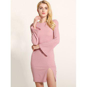 Manches cloche Lace Up Fit Slit Sweater Dress - Rose Clair 2XL