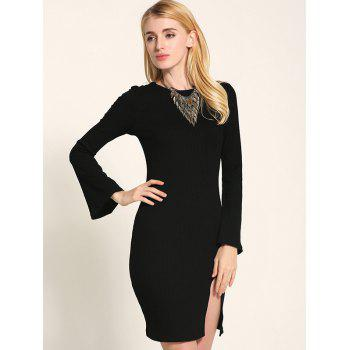 Manches cloche Lace Up Fit Slit Sweater Dress - Noir M