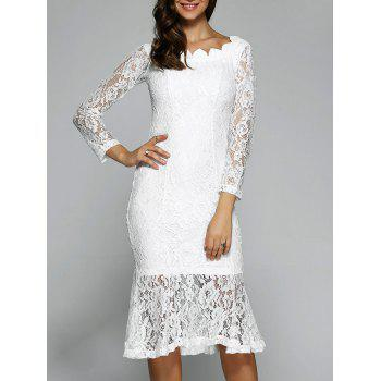 Lace Long Sleeve Mermaid Tea Length Wedding Bridesmaid Dress