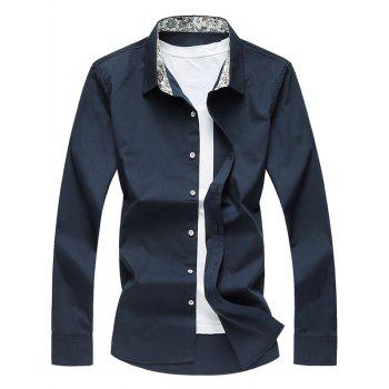 Long Sleeve Floral Print Lining Turn-down Collar Shirt