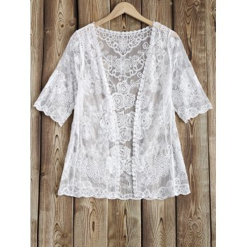 Rose Pattern See-Through Lace Cover Up - WHITE WHITE