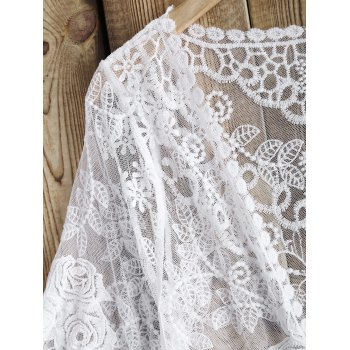 Rose Pattern See-Through Lace Cover Up - WHITE ONE SIZE