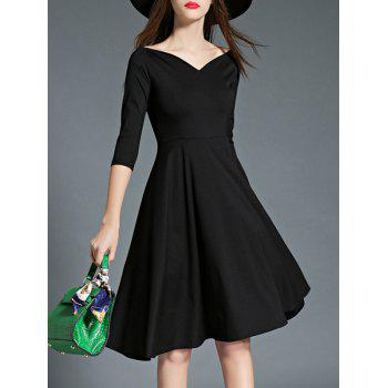 3/4 Sleeves High Waist Flare Dress - BLACK XL