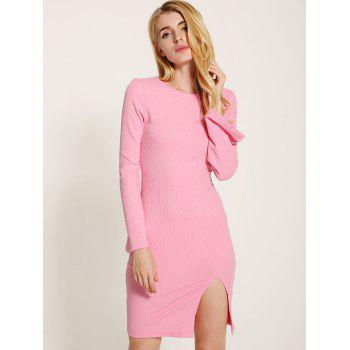 Manches cloche Lace Up Fit Slit Sweater Dress - ROSE PÂLE XL