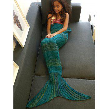 Stylish Stripe Knitted Mermaid Tail Design Blanket For Kids - GREEN BLUE GREEN BLUE