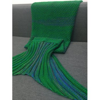 Stylish Stripe Knitted Mermaid Tail Design Blanket For Kids - GREEN