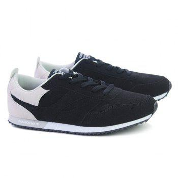 Tie Up Colour Splicing Suede Athletic Shoes - WHITE/BLACK 41