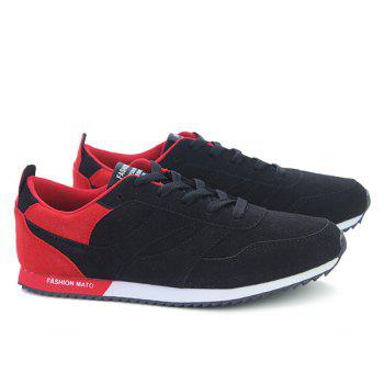 Tie Up Colour Splicing Suede Athletic Shoes - RED/BLACK 42