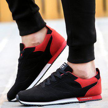 Tie Up Colour Splicing Suede Athletic Shoes - RED/BLACK 44