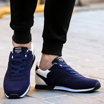 Tie Up Colour Splicing Suede Athletic Shoes - BLUE/WHITE 40