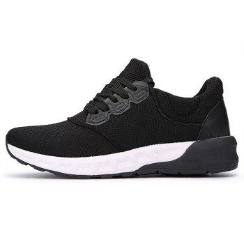Lace Up Mesh Athletic Shoes - BLACK 40