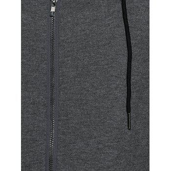 Zipper Hooded Running Jacket - DEEP GRAY M