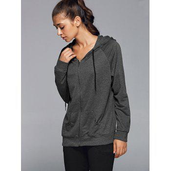 Zipper Hooded Running Jacket - DEEP GRAY XL