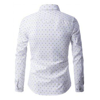 Button-Up manches longues Rhombus Motif shirt - Blanc 3XL