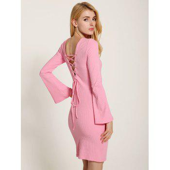 Bell Sleeve Lace Up Fit Slit Jumper Dress - PINK M