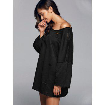 Long Sleeve Sloping Shoulder Ripped Sweatshirt - BLACK S