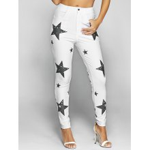 Pentagram Print Slimming Pencil Jeans