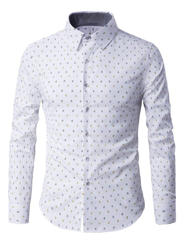 Button-Up manches longues Rhombus Motif shirt - Blanc M