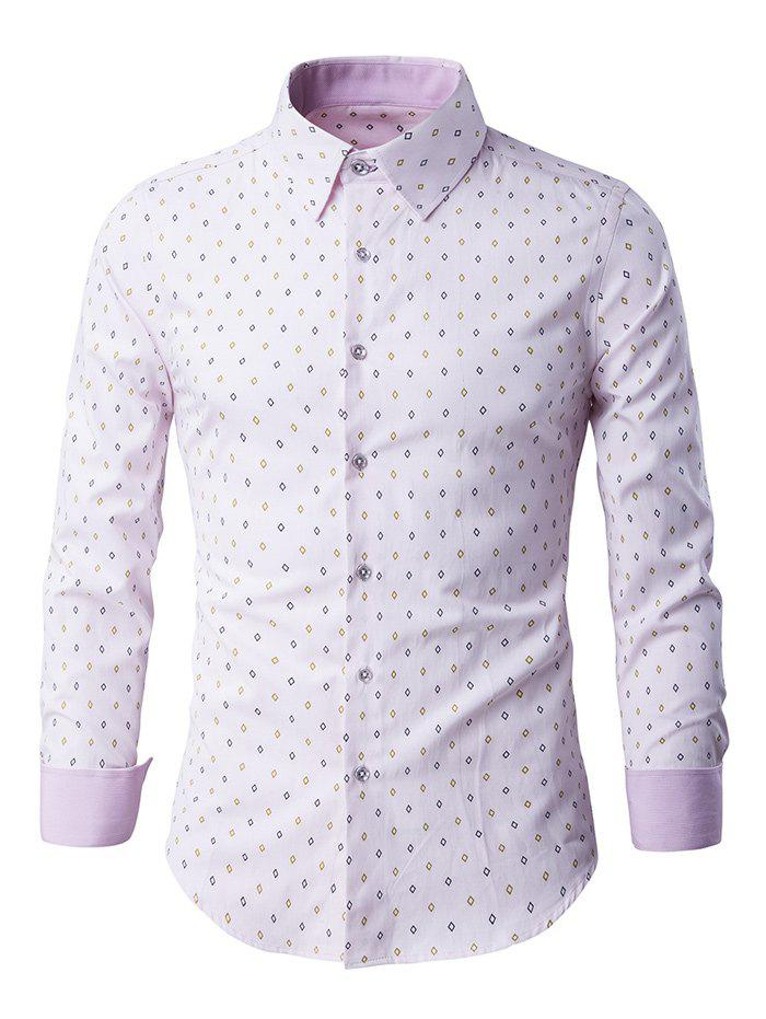 Button-Up manches longues Rhombus Motif shirt - ROSE PÂLE 3XL