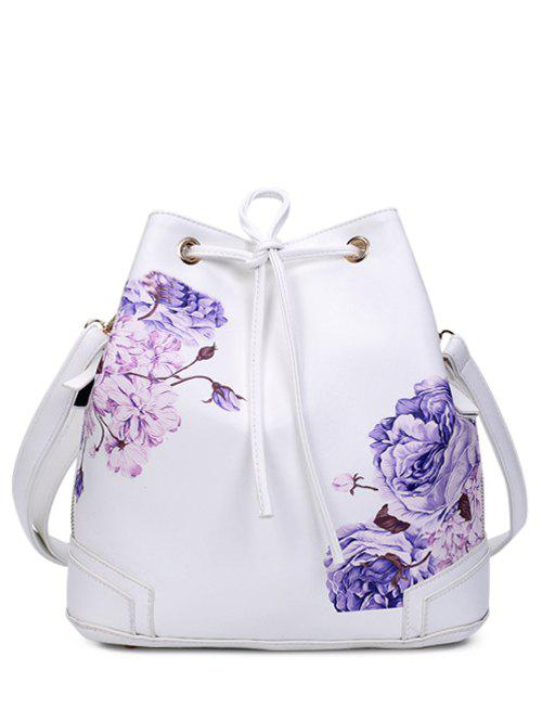 Drawstring Side Zip Peony Print BackpackBags<br><br><br>Color: WHITE