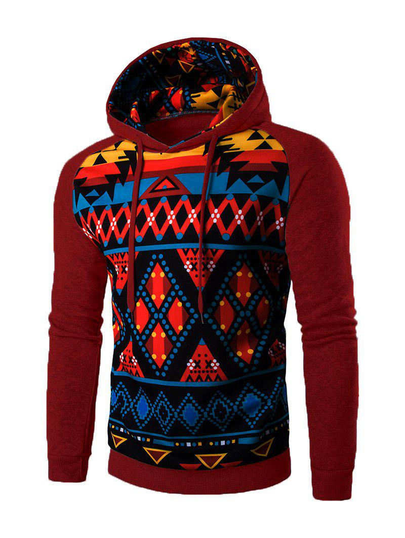 Cartoon Geometric Long Sleeve Hoodie - WINE RED 2XL