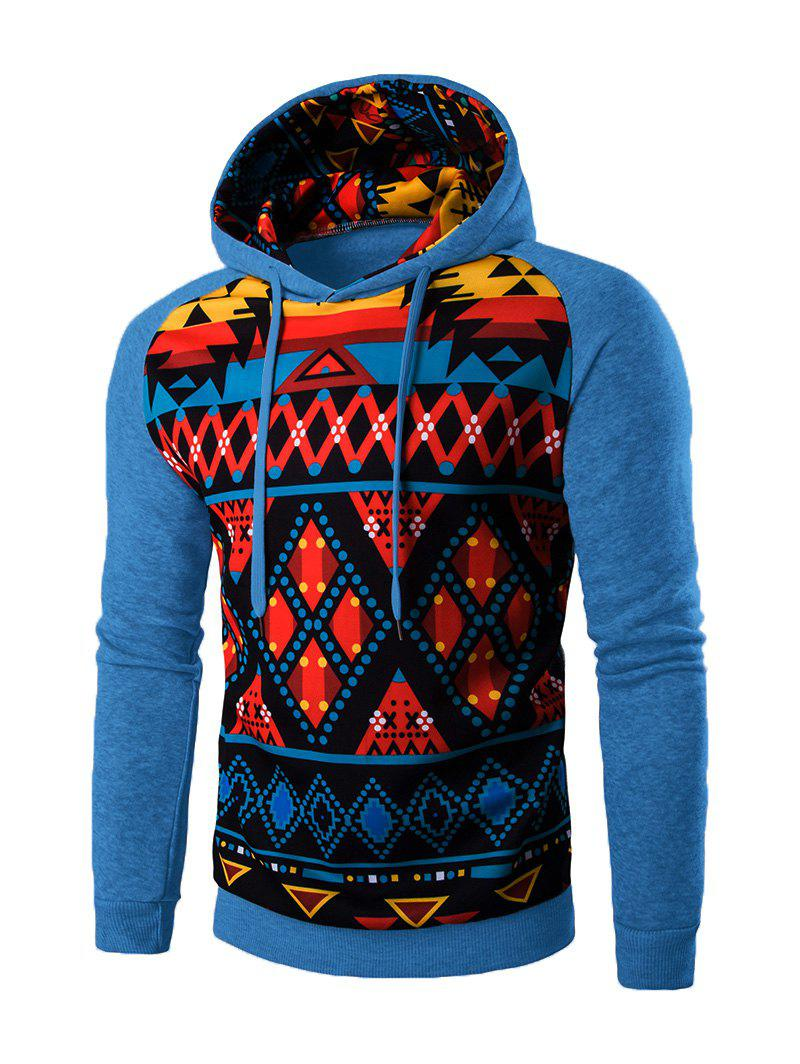 Geometric Sweatshirt à capuche Cartoon - Bleu M