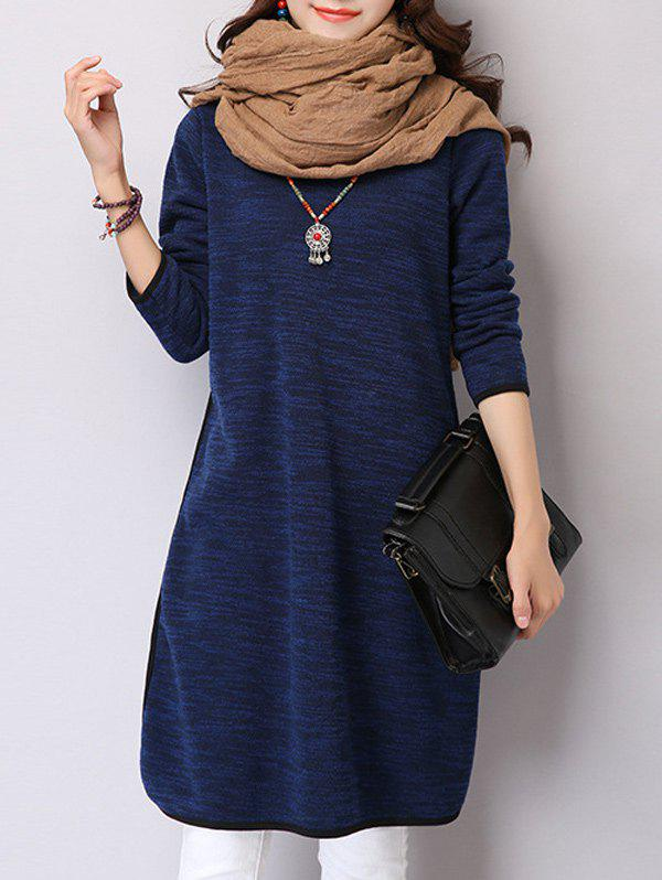 Turtleneck Long Sleeve Slit Warm Fleeced Dress, Deep blue