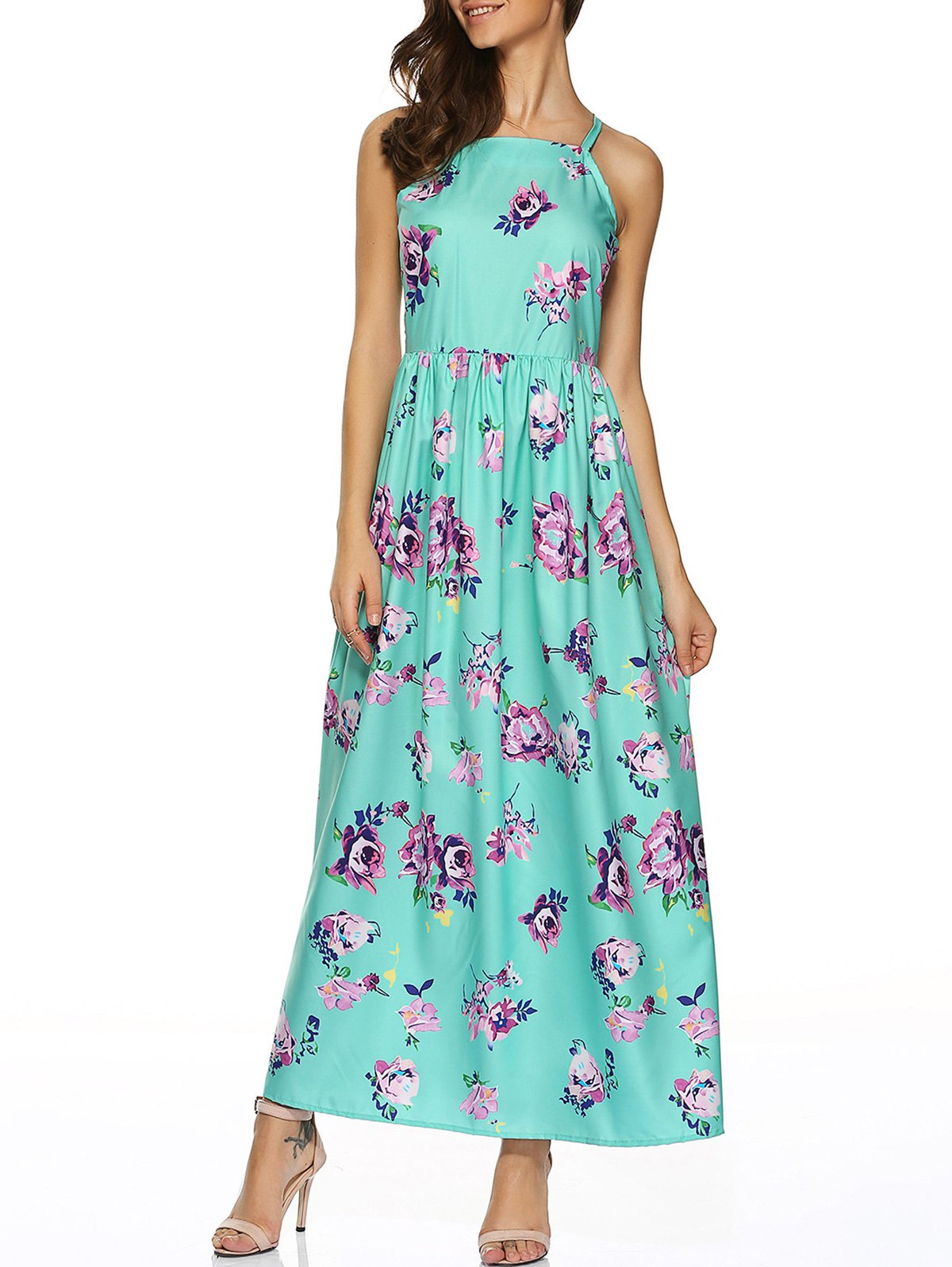 Sweet Flower Printed Maxi DressWomen<br><br><br>Size: XL<br>Color: LIGHT GREEN