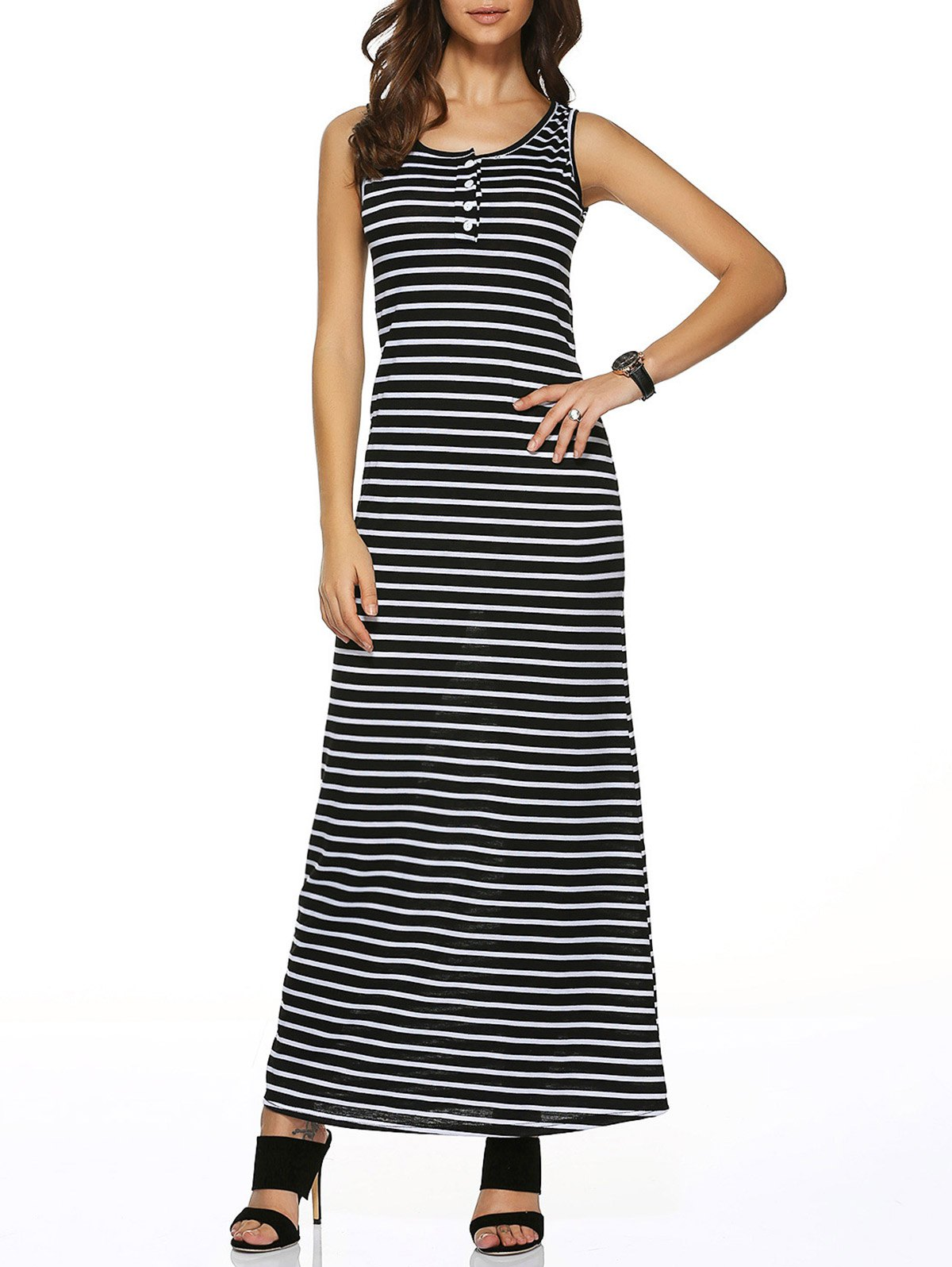 Sleeveless Buttoned Striped DressWomen<br><br><br>Size: L<br>Color: BLACK