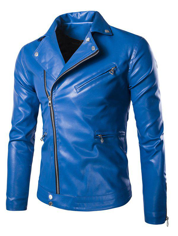 Side Zipper-Up Slim-Fit Faux Leather Jacket faux leather slim fit zip up jacket