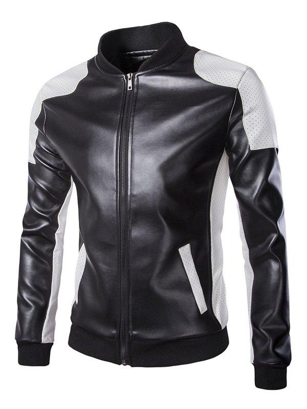 Stand Collar Color Block Faux Leather Jacket