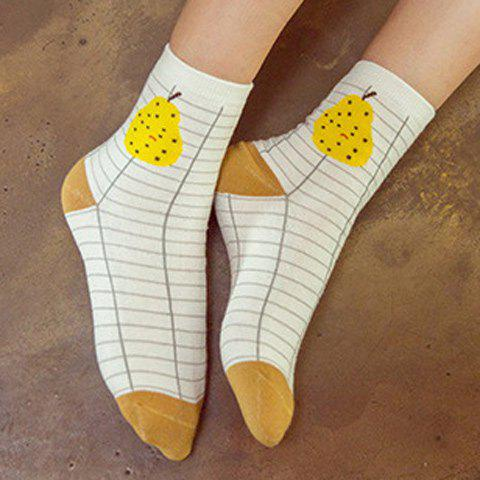 7 Pairs of Concise Cartoon Fruit Pattern Soft Sport Socks - COLORMIX