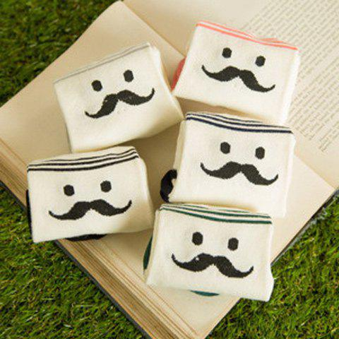 5 Pairs of Concise Mustache and Five-Pointed Star Pattern Soft Sport Socks - COLORMIX