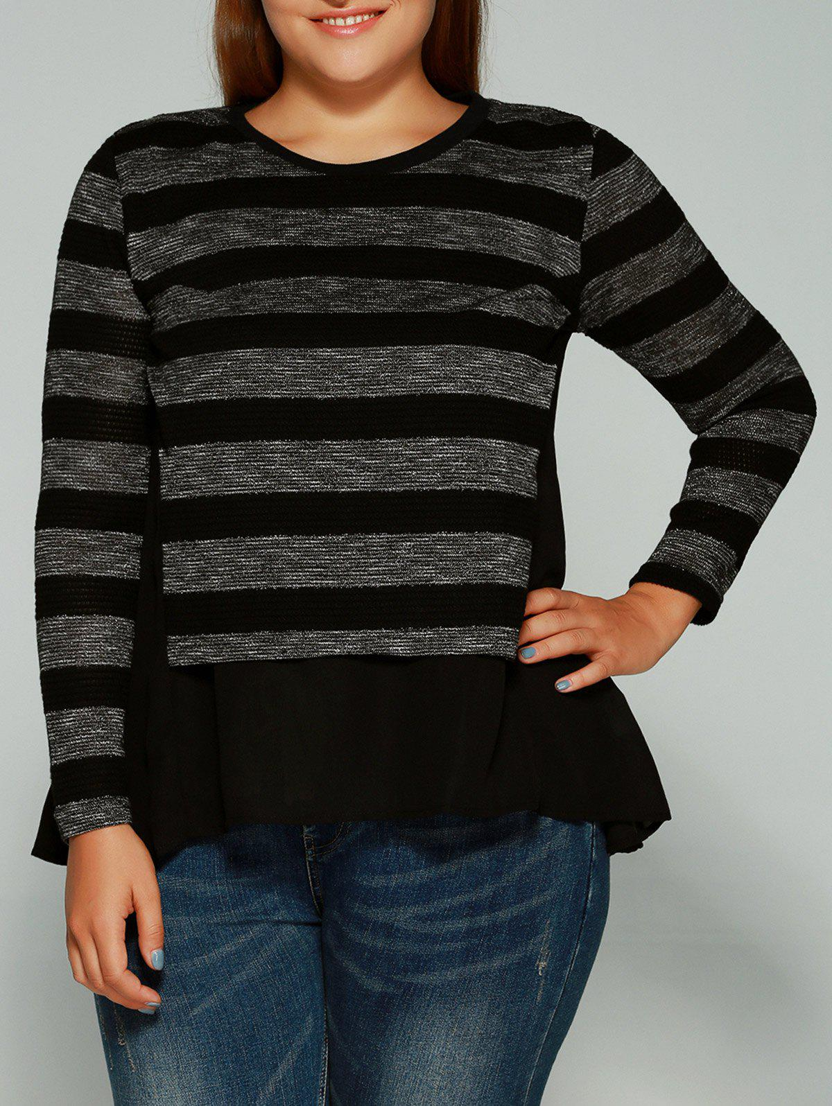 Buy Plus Size Striped Asymmetrical Blouse BLACK