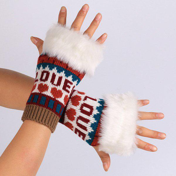 Warmer Knitted Love Letter Plush Fingerless Gloves - WINE RED
