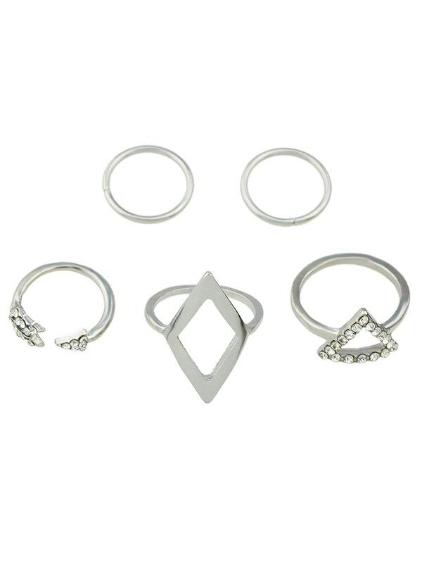 Rhinestone Alloy Triangle Jewelry Set Rings rhinestone detail layered rings set 3pcs