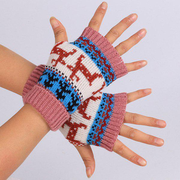 Pair of Knitted Fingerless Deer Splicing Warm Gloves - DEEP PINK