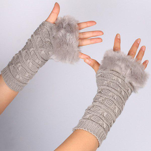 Winter Warm Plush Knitted Fingerless Butterfly Gloves - GRAY