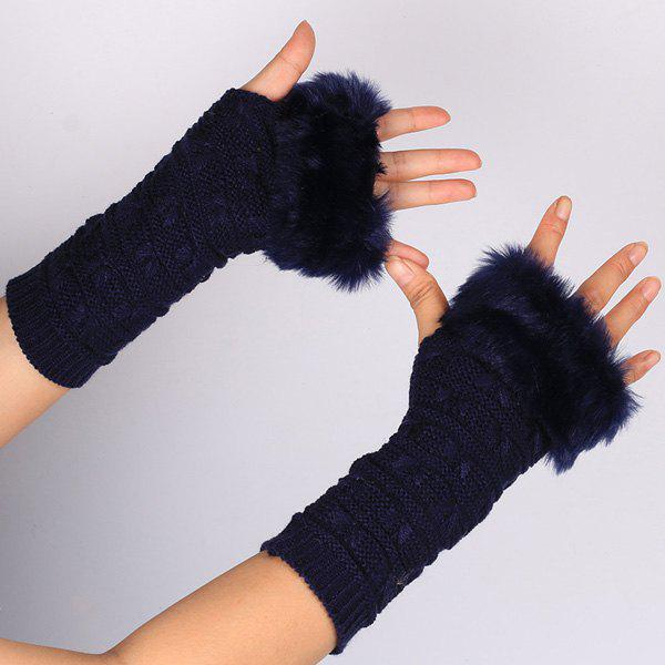 Winter Warm Plush Knitted Fingerless Butterfly Gloves - PURPLISH BLUE