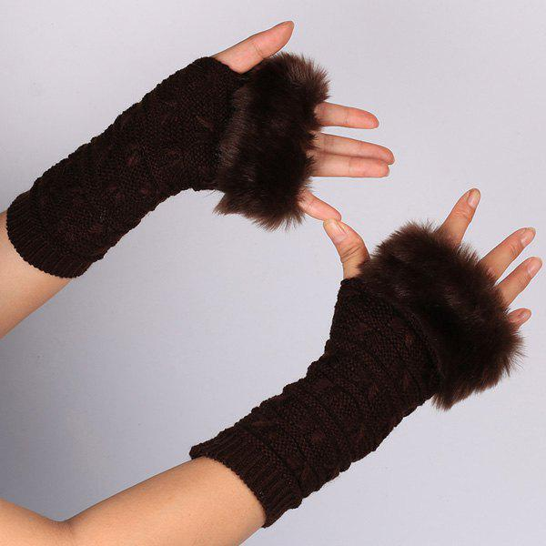 Winter Warm Plush Knitted Fingerless Butterfly Gloves - DEEP BROWN