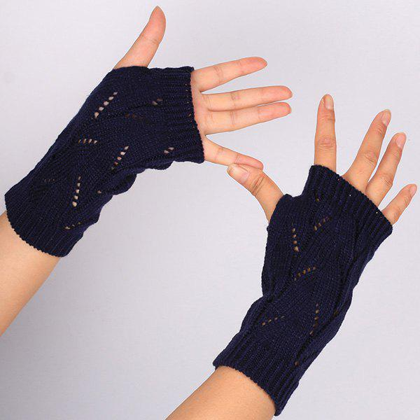 1 Pair Crochet Branch Pattern Fingerless  Gloves - BLACK BLUE