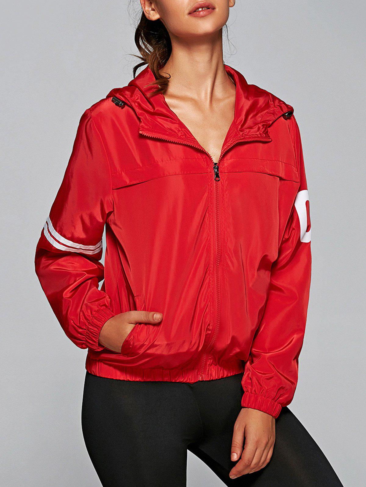 Lettre Nombre Imprimer Zip Coat Up Hooded - Rouge L